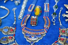Jewelry in Chefchaouen (T Ξ Ξ J Ξ) Tags: morocco chefchaouen sefasawan d750 nikkor teeje nikon2470mmf28 blue city square silver jewelry handicraft