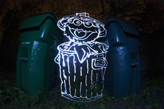 National Grouch Day (Stimulight the Night) Tags: longexposure nightphotography lightpainting sesamestreet slowshutter trashcans lightart lightpaint longexposurephotography lightpainters lightartphotography lightpaintingphotography nationalgrouchday lightingthenight grouchday stimulightthenight