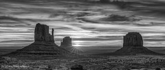 Monument Valley - Sunrise over Mittens (matxutca (cindy)) Tags: morning sky sunrise outdoors utah desert serene monumentvalley rockformations navajotribalpark themittens