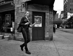 The Document (tacosnachosburritos) Tags: city urban woman newyork hot sexy girl beautiful leather lady thestreets boots streetphotography gritty jacket blond motorcycle greenwichvillage longlegs statuesque