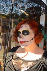 Bekah keeping the sun off (radargeek) Tags: oklahoma festival umbrella dayofthedead event okc facepaint oklahomacity 2015 plazadistrict
