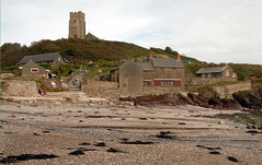 Church, Wembury Marine Centre and Mill Cafe (carolemason) Tags: beach church devon wembury stwerburgh marinecentre millcafe