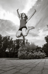 Let warm breeze lift you. (Flickr_Rick) Tags: autumn blackandwhite woman girl outside jump jumping breanne jumpology