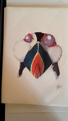 Crazy puffin (Franois Berthet) Tags: bird pen crazy atlantic alcohol puffin draw letraset fratercula oen