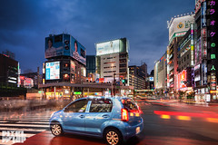 the little blue hatchback in tokyo- (pixelwhip) Tags: city blue urban car night tokyo big shinjuku long exposure crossing traffic little small pedestrian stop hour hatchback 2015 pixelwhip