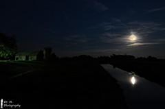Hunter Moonrise Reflections (Dr. M.) Tags: barn silo astrophotography reflections river woodcounty water moon clouds longexposure huntermoon ohio landscape night stars nikon d7000 tokina 1116mmlens