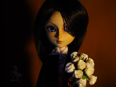 That's for you my Lady (Malina (LaelP)) Tags: doll puppe mueca poupe pullip groove obitsu toy malina asian fashion indoor taeyang wangyi seiran handsome boy guy vampire halloween cute lights white shirt black robe hair wig rewigged stock violet chips dark creepy majestic flowers