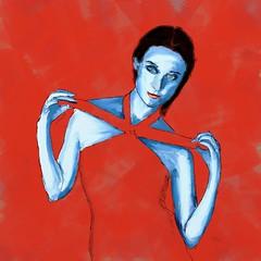 Blue Lady (Pat McDonald) Tags: artrage digitalart red black tie flashflood