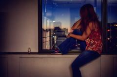 Above the City Line (flashfix) Tags: november232016 2016 2016inphotos nikond7000 nikon ottawa ontario canada 40mm portrait selfportrait light sunrise citylights lines window sill earlymorning
