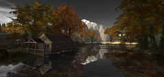 first snow at the mountains (flubs) Tags: landscape surreal virtual flickr firestorm nature sl secondlife sunset dreamy