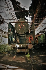Welcome aboard comrade (the crazy french man) Tags: railway rail steam 2016 ubex exploration urban europe transportation decay hungary budapest redstar soviet ghost yard locomotive abandoned train