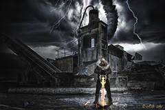 The Dark Hour (A.B. Art) Tags: photoshop postprocessed photomontage fotomontage schrottplatz scrapyard tornado blitz flash sword schwert abart starburst911 art kunst composition komposition