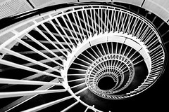 White Down There (Sean Batten) Tags: premierinn london england unitedkingdom gb blackandwhite bw spiral stairs city urban nikon d800 1424