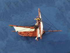 The ETWC Ship - Fog-Breaker (Robert4168/Garmadon) Tags: lego ship sloop sail spanker topsail mainsail mast gaff boom stern bow brickbuilt hull etwc eslandola mylesbowditch rigging brown black white interior