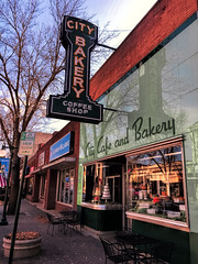 City Bakery (Pete Zarria) Tags: minnesota eat bakery neon vitriolite old style architecture cake coffee sign fall smalltown color leaves street cityscape