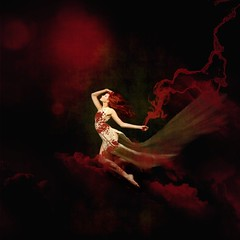 At the heart of it ('_ellen_') Tags: red clouds blood smoke splash dress hair flying floating sky woman dream sad sorrow death life alone