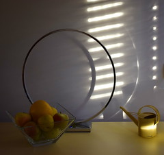 Yello (mi ne volimo alu) Tags: asymmetry artistic colour food illumination indoor idyllic light lines monochrome mood morning apple citrus bowl lamp circle stripes blinds pattern poetry fruit yellow wateringcan shadow stillife lyric lowkey 7dwf crazytuesdaytheme