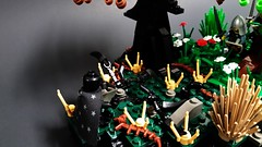 (CBC 2015) - The Dark Prowl Trilogy - Intro (Sci-Castle) Tags: trees plants black castle grass dark death vines weeds energy lego landscaping magic kingdom medieval hills knights greenery figures prowl necromancer sorcerers scicastle