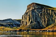 The Brown Cliffs of Dakota (lseankey) Tags: autumn trees sky water scenery rocks northdakota badlands lakesakakawea williamscounty prairiescape nikond7000 nikon28300mm nd2015contest