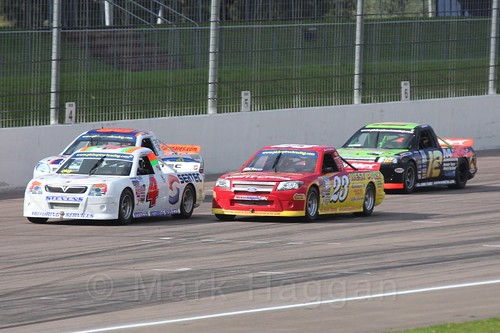 Pete Stevens leads in Pick Up Truck Racing, Rockingham, Sept 2015