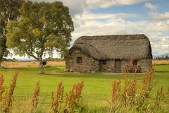 Culloden Battlefield, Scotland (Jill Clardy) Tags: old uk roof green english graveyard grass stone clouds scotland day cloudy united cottage kingdom battle explore slaughter thatch battlefield mass moor thatched culloden jacobites explored leanach 4b4a611617181920tonemapped