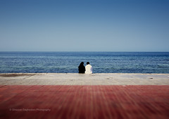 What is Love? (FarCorner) Tags: street morning blue red sea sky love beach couple redsea saudi arabia photowalk jeddah abaya thobe qournich