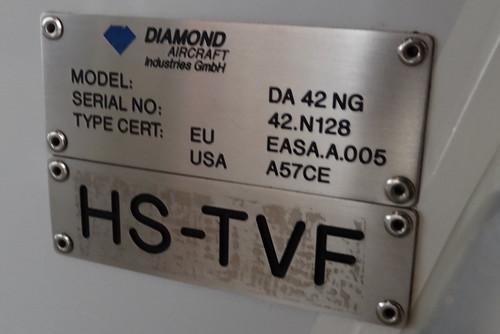 Diamond DA42NG HS-TVF-2 dataplate Hua Hin 12Oct15 (Jean Marc Braun)