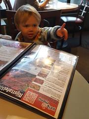 Indonesian dinner (quinn.anya) Tags: menu restaurant berkeley toddler sam pointing indonesian jayakarta
