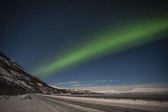 Cosmic road (kamentsev) Tags: road trees winter mountain lake ice night clouds stars lights sweden nobody roadsign northern liferoads