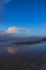 blue hour (j j miller) Tags: ocean california ca sunset storm reflection beach rain clouds coast dusk lowtide cloudporn hwy1 californiacoast pomponio statebeach pomponiostatebeach