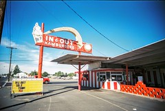In & out (jfpj) Tags: red white film sign oregon vintage fuji cone burger toycamera drivein icecream signage vivitar plasticcamera bakercity vintagesign trashcam fuji400film 10faves vivitarultrawideandslim