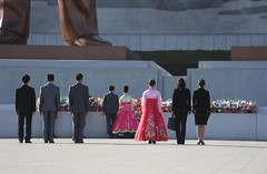 Fathers Blessing (pierre_depont) Tags: wedding military north streetlife korea parade kimjongil weddingdress northkorea pyongyang dprk koreangirl juche nightphotogrphy massgames juchetower massdance kimjonun