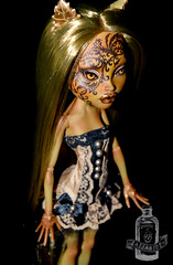 Toffee (saijanide) Tags: monster one high mod doll mask lace ooak goth kind caramel blonde corset customized swirl custom mh toffee modded customization repaint reroot faceup clawdeen clawvenus