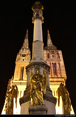 Zagreb Cathedral, Zagreb, Croatia (JH_1982) Tags: cathedral assumption mary kathedrale zagrebaka katedrala cathdrale cattedrale zagabria       kapitol square place platz statue monument angel angels engel golden gold landmark building historic architecture evening night nacht nuit noche notte    dark darkness light lights lichter illminated lit zagreb     croatia kroatien hrvatska croacia croatie croazia crocia