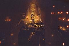 (edmondburnett) Tags: doubleexposure cinestill 800 800t church catholic candles dark mysticism seattle film 35mm nikon f3hp mary jesus