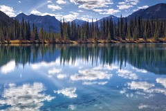 Blue sky white clouds (John Andersen (JPAndersen images)) Tags: alberta aurorahdr azure blue clear clouds forgetmenotpond kananaskis reflections sunny