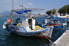 All lined up (Steenjep) Tags: samos holiday ferie greece grkenland pythagoreio harbour port boat fishing fishingboat tools nets pier water blue