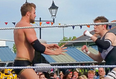 Open Air Wrestling, Doncaster Market Place. (ManOfYorkshire) Tags: wrestling wrestlers fight doncaster market place square event saturday openair outside trunks men referee ring ropes