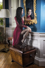 ann refelections (BarryKelly) Tags: leg red dress mirror refelection model girl woman dark hair high heel box lamp