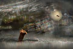 floating on a silk sea (pete ware) Tags: web spiderweb macro helios40285mmf15 peteware photoshopcs5 layers composite organicperiscope twig gossamerthreads diffraction batonthemoon floating drifting sea