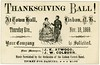 Thanksgiving Ball! Lisbon, N.H., 1869 (Alan Mays) Tags: ephemera tickets dancetickets admissiontickets admissions paper printed thanksgivingball balls dances dancing thanksgivingballs thanksgiving holidays november dancers music musicians lisboncornetband floormanagers managers atwood jkatwood coburn jwcoburn illustrations townhall lisbon nh newhampshire thursday november18 1869 1860s 19thcentury nineteenthcentury victorian antique old vintage typefaces type typography fonts cornetbands