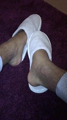 A friend and his #Slippers   #guy #man #feet #bare #nosocks #sockless #fetish #gay  #barefoot (FootboiMax) Tags: fetish sockless gay nosocks guy feet barefoot man bare slippers