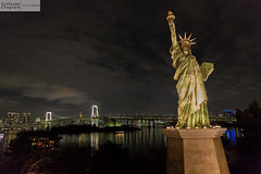 Statue de la libert et Rainbow Bridge (Guillaume Chagnard Photographie) Tags: japon tokyo japan odaiba rainbow bridge rainbowbridge statue de la libert statuedelalibert