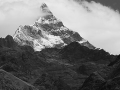 Chacrajaru peak ( 6108m ) . (clicheforu) Tags: clicheforu chacrajaru santacruz huaraz andes peru southamerica cordillerablanca mountain top peak landscape nature summit view discover explore travel trek hike wanderlust intothewild altitude height cloud sky bw blackandwhite blackwhite