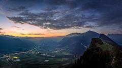 Sunset over Landquart (iSteven-ch) Tags: valley switzerland citylights glegghorn grison sunset landquart eos6d schweiz mountains graubnden fog canon rhineriver valzeina vilan graubnden ch