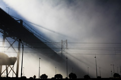 Nevoeiro na ponte // Fog on the bridge (Lightningraph - Daniel) Tags: bridge fog riotejo lisboa lisbon lightningraph foggy colours color