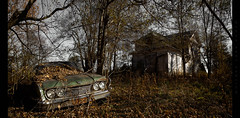 The Whole Damn World is Broken Down (Whitney Lake) Tags: abandoned house car junk rurex urbex decay fall leaves dream forsaken