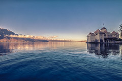 ...RiseOfTheCastle... (7H3M4R713N) Tags: xt1 1024mm morning sunriselight lacleman lemanlake suisse romandie chillon chateaudechillon switzerland swiss ch wideangle water sky automn automne cleansky nomorecloud