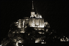 The Old Abbey of Mont St Michel at Night (big_jeff_leo) Tags: stmichaelsmount montstmichel france castle rock coast abbey monk stone walls towers medieval normandy history heritage ancient old column gothic tidal estuary unesco island