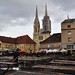 Zagreb, Croatia - Dolac Market and Cathedral